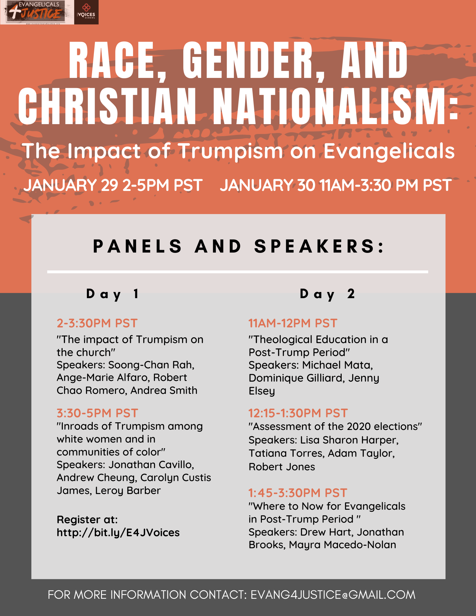 E4J/Voices School Joint Zoom Conference: Race, Gender and Christian Nationalism: The Impact of Trumpism on Evangelicals; Jan 29-30